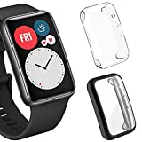 Sjiangqiao 2-Pack Screen Protector Cases Compatible with Huawei Watch Fit, Soft TPU Plated All-Around Protector Cover Bumper Frame for Huawei Watch Fit Accessories for Men Women (Clear+Black)