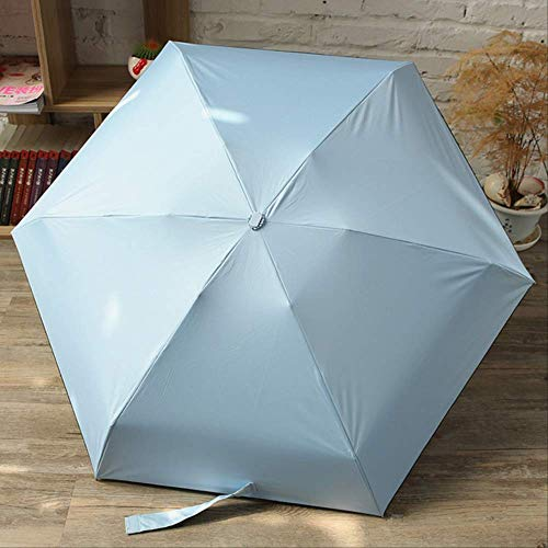 NJSDDB paraplu Nieuwe Mini Capsule Vrouwen Paraplu Effen Kleur Outdoor Zon Paraplu Aluminium Paraplu Stand Vijf Vouwen Waterdichte Regen Poncho, Blauw