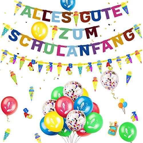 iZoeL Einschulung Schule Schuleinführung Schulanfang Deko Alles Gute Zum Schulanfang Girlande + Schultüte Banner + 15 Luftballon + 123 ABC Konfetti für Junge Mädchen
