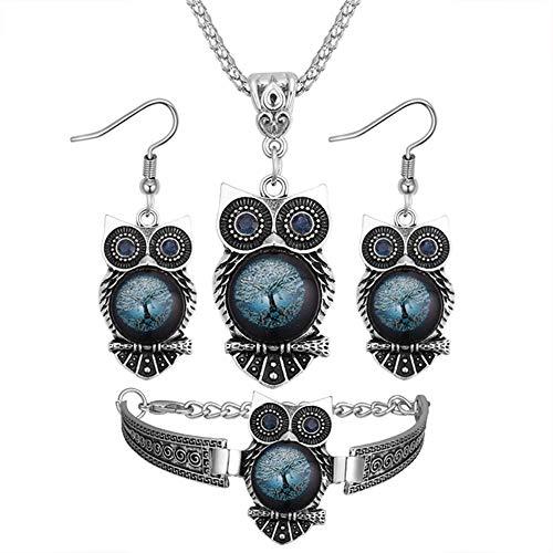 Demarkt - Juego de Joyas para Mujer, diseño de búho, Color Azul, Diseño 3, 45+5cm