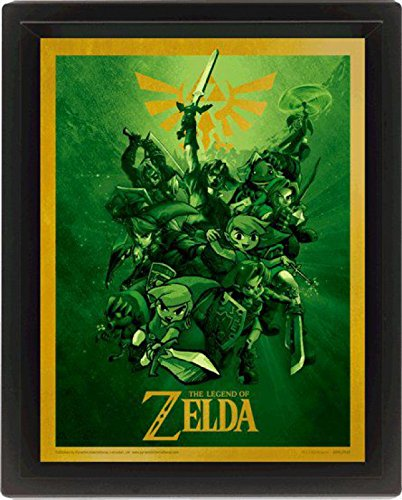 1art1 The Legend of Zelda - Link, Poster 3D Enmarcado Póster 3D (Enmarcado) (25 x 20cm)