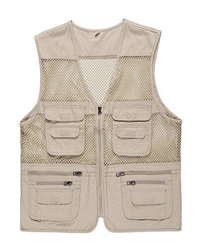 Hombres Respirable Chaleco Exterior De con Multibolsillos Posterior Vest para Pesca Fotografía Beige 2XL
