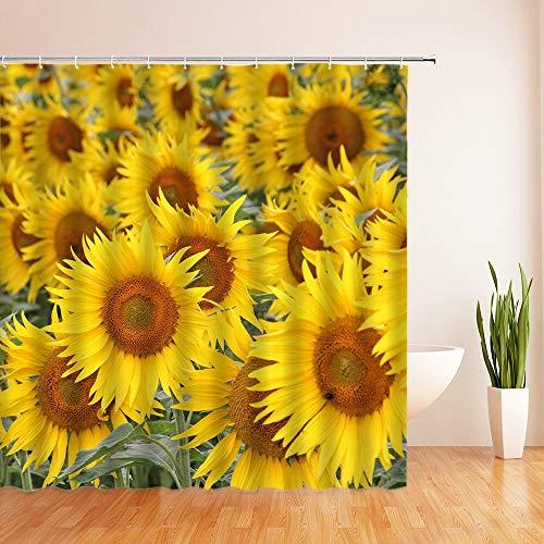 XCBN Gelbe Sonnenblume Pflanze Duschvorhang Bad wasserdicht Duschvorhang Blattdruck Bad Duschvorhang A1 90x180cm
