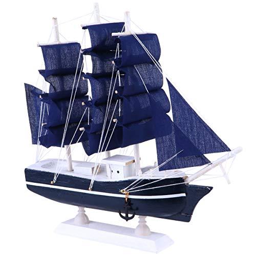 VICASKY Holz Segelboot Modell Miniatur Wasserfahrzeug-Modellbausätze Küste Tischplatte Ornament Schiffsmodell für Lernspielzeug für Zuhause Puppenhaus Dekor