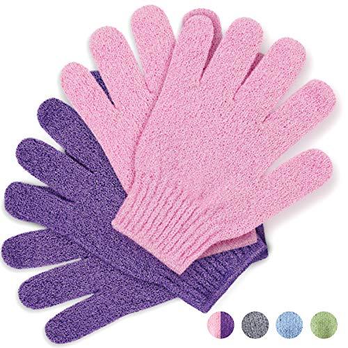 Gants exfoliants, Moufle exfoliante en bambou, Gommage pour le bain/la douche, Exfoliation du corps Mitaine pour les mains, Exfoliants de beauté/Luffah, (rose/violette)
