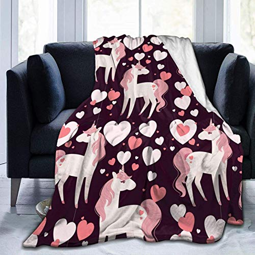 Childish Seamless Unicorn Heart Soft Throw Blanket Lightweight Warm Flanell Fleece Blanket for Couch Bed Sofa Travel Camping for Adults 127 x 101,6 cm