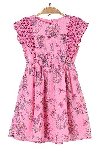 s.Oliver RED Label Mädchen Crinkle-Chiffonkleid mit Flügelärmeln pink AOP 104.REG