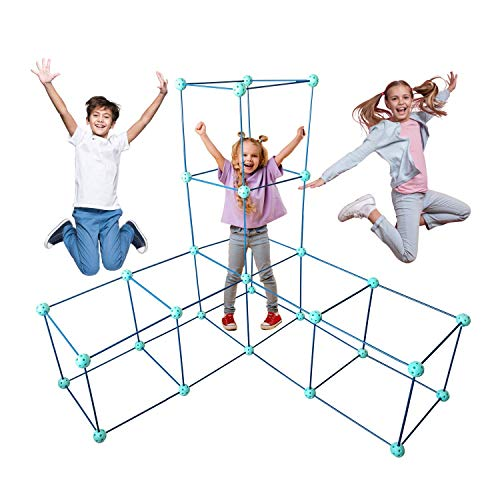 FORTSPLAY Fort Building Kit for Kids - Construction Toy 92 Pieces - Boys and Girls Play Indoor Outdoor - Ultimate Fort Builder Making Tent Castle Tunnel Rocket Tower - Creative Toys STEM Gift Kits