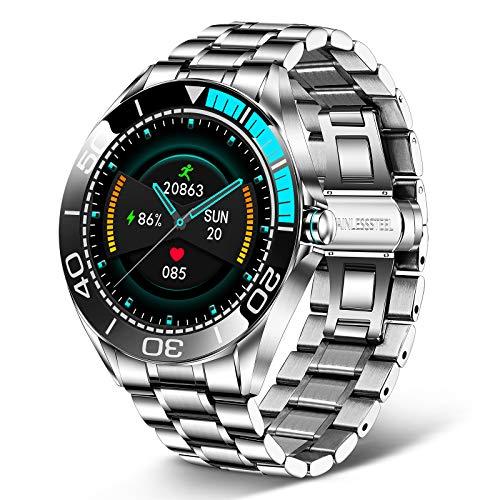 LIGE Reloj Inteligente Hombre de 1,3'', Monitor de Actividad con Pantalla Táctil, Monitor de Frecuencia Cardíaca, Resistente al Aagua IP67, Reloj de Aacero Inoxidable con Cronómetro para Android iOS
