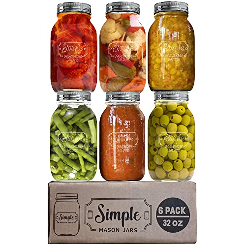 Simple Mason Jars Glass Jars Mason Regular Neck, 32 oz (6 Packs), canning glass jars with silver metal sealed lids and bands, for canning, canning, cooking, oatmeal overnight, jam, jelly,