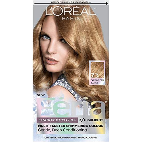 L'Oreal Paris Feria Multi-Faceted Shimmering Color, Dark Golden Blonde [73] (Warmer) 1 ea (Pack...