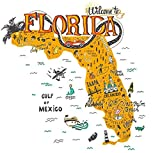 DIY 5D Diamond Painting Kits Cartoon Florida Map Tourist Attractions Travel Miami Drawn Full Drill Painting Arts Craft Canvas for Home Wall Decor Full Drill Cross Stitch Gift 16X20 Inch