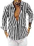 Camisas de estampado a rayas con botones para arriba blusa casual solapa manga larga otoño Top, Negro, XL