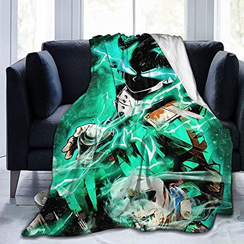 Manta de Anime Throws Comfort Lightweigt, cálida, suave, acogedora, manta de forro polar, manta de sofá, manta reversible para cama de TV para niños y niñas, color negro, 3 - 80 x 60 pulgadas