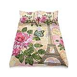 UMIRIKO Juego de ropa de cama para niños, diseño de la Torre Eiffel de París, 3 piezas, juego de funda de edredón suave con 2 fundas de almohada para niños y niñas de 167,6 x 228,6 cm 20203