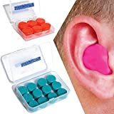Silicone Putty Moulded Ear Plugs by Sleepytime,Blue Soft Sticky Plugs Which Mould Into Your Ear for Effective Noise Reduction in Plastic Case (12, Blue)