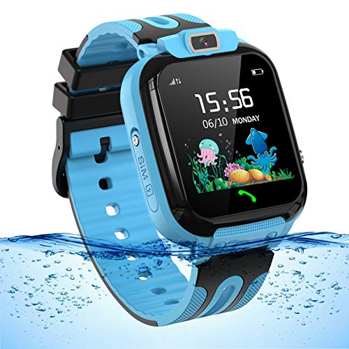 Smartwatch Kinder Wasserdicht Kids Smart Watches Phone KinderUhr für Jungen Mädchen Smartwatch mit LBS Tracker Voice Chat, Blue