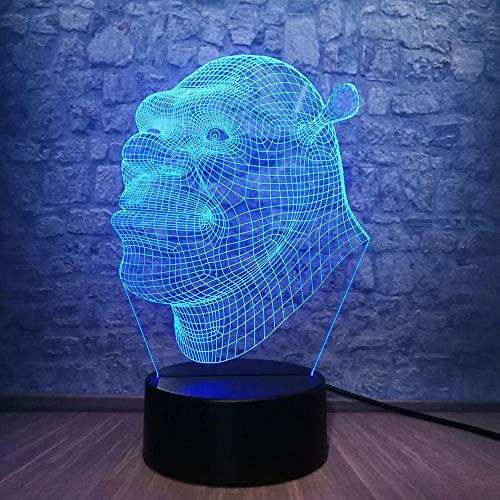 Nueva lámpara 3D Shrek LED Mesa Luz Nocturna Ilusión Atmósfera 7 Cambio de Color Lampara Iluminación RGB Regalo de Vacaciones Dormitorio Decorar