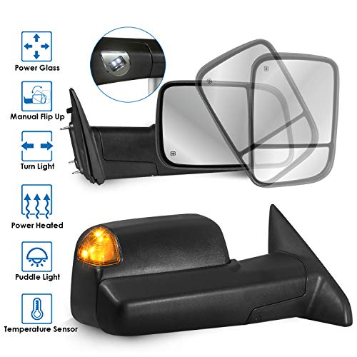 MOSTPLUS Power Heated Mirror Compatible for 2009-2018 Ram 1500 2500 3500 w/Foldaway Led Turn Light, Puddle Lights(Ambient Temperature Sensor included)