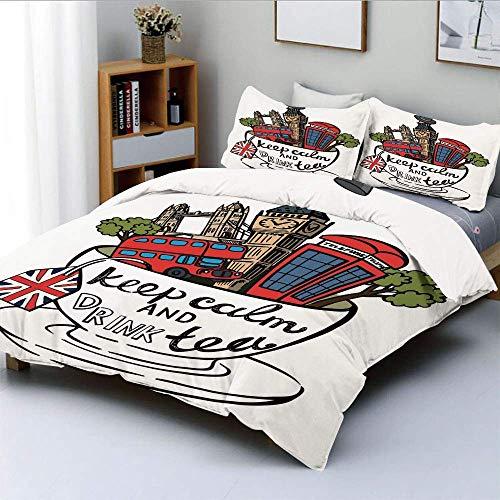 Conjunto de funda nórdica, conjunto de iconos de monumentos culturales de Gran Bretaña y Londres en taza de té con cita popular Decorativo Decorativo Juego de cama de 3 piezas con 2 fundas de almohada