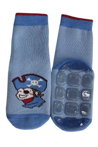 Weri Spezials Baby & Kinder Voll Frotee Anti-Rutsch Stopper Socken für Jungen Baumwolle Ferne Reise (31-34, Mittelblau Piratenkopf)