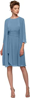 AW Short Mother of The Bride Dress with Jacket Plus Size Formal Wedding Guest Dresses for Women