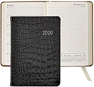 2020 Notebook Planner 7-in Black Crocodile Embossed Calfskin Leather by Graphic Image™ - 5x7