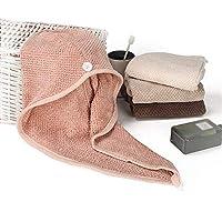 ドライヘアキャップ速乾性ヘアキャップ、ラップレディ超吸収性ターバン乾燥バスタオルハットボタン付きバスルームマジックドライヘアハット(色:ピンク)