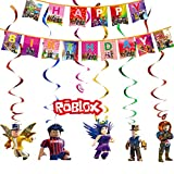 Juego temático Party Supplies Roblox Favor de fiesta Roblox Colgando remolinos Decoraciones Feliz Bithday Banner Giratorios Glitter Foil Techo Streamers Gamer Cumpleaños Decoración