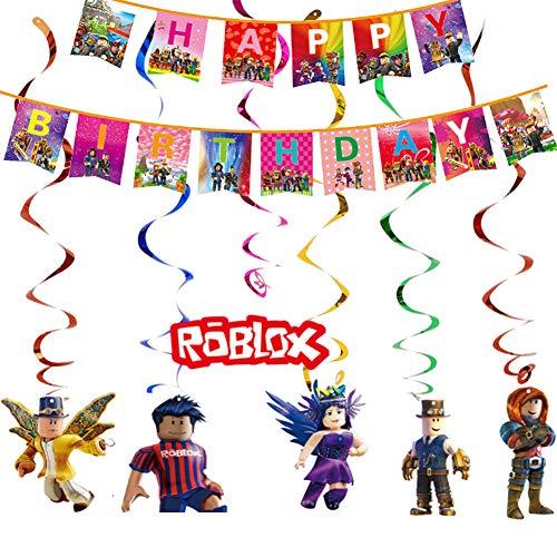 Juego temático Party Supplies Roblox Favor de fiesta Roblox Colgando remolinos Decoraciones Feliz Bithday Banner Giratorios Glitter Foil Techo Streamers Gamer...