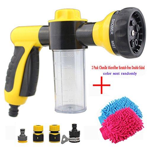 Preisvergleich Produktbild Hochdruck-Reinigungspistole zum Putzen von Autos,  Gärtnern,  Waschen von Haustieren usw.,  8-in-1-Sprühfunktionen mit Schaumreinigungs-Funktion,  Gelb