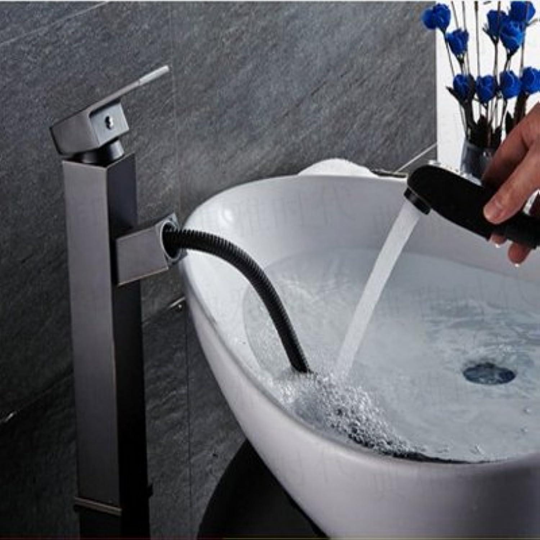 AGECC Beste Wahl Dusche Bad Set Becken Wasserhahn Kupfer Antike Waschbecken Versenkbare Retractable Schwarz Schwarz Bronze Europischen Führer D
