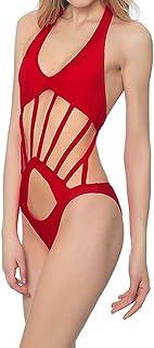 LYL 女性のための水着ネックライン背中が大きく開い空と調整可能な文字列背中が大きく開いローウエストワンピース媚薬ビキニ (色 : 赤, サイズ : S)