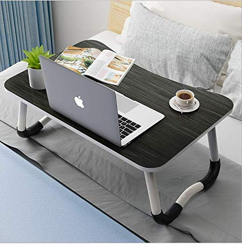 NB CREATION Multi-Purpose Laptop Table/Bed Table/Wooden Foldable Bed Table/LAPDESK/Study Table/Portable Table (Black and Silver Stripes)