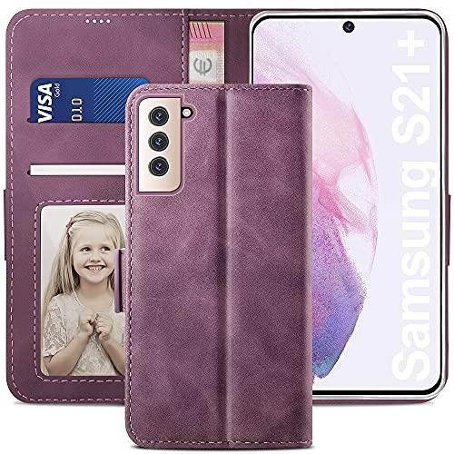 YATWIN Funda Samsung Galaxy S21 Plus, Cuero Premium Flip Folio Carcasa para Samsung S21 Plus, Soporte Plegable, Ranura para Tarjeta, Cierre Magnético, Compatible para Galaxy S21+ Plus - Vino Rojo