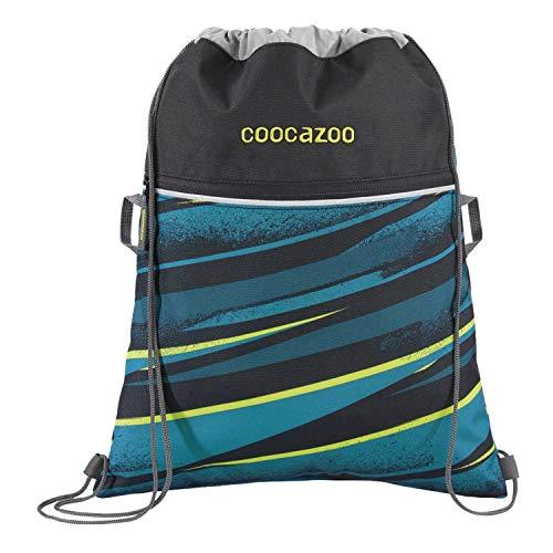 """Coocazoo Sportbeutel RocketPocket """"Wild Stripe"""", blau, mit Reißverschlussfach und Kordelzug, reflektierende Elemente, Schlaufen zur Befestigung am Schulrucksack, für Jungen ab der 5. Klasse, 10 Liter"""
