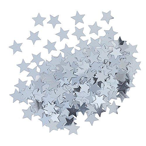 Unique Party- Confetti con forma de estrella, Color plata (90371)