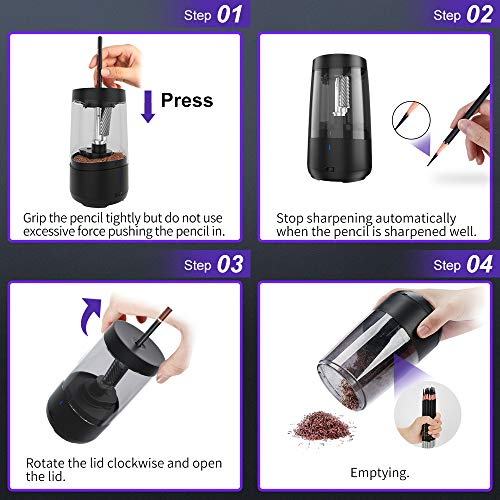 Long Point Pencil Sharpener for Artists,Heavy Duty Electric Pencil Sharpener,Rechargeable Pencil Sharpener for 6.5-8.5mm charcoal pencils & graphite pencils,5 Pencil Nib Options Photo #3