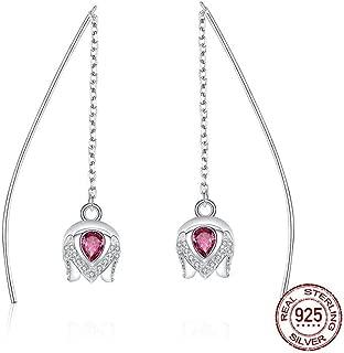 XTT Earrings Hoops Studs 925 Sterling Silver Romantic Tulip Flower Shape Drop Earrings for Women Pink Cz Sterling Silver Jewelry Women Dangle Earrings 1 Pair