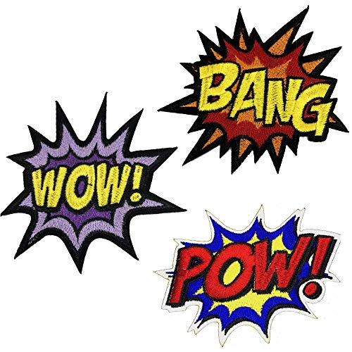 OYSTERBOY Comic Book Classic Style POW Wow Bang Patches 3pc Comics Collection Iron-on Patches