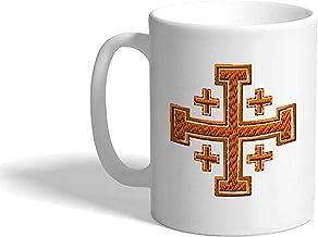 Jerusalem Cross Crusader E Religions Christian 11 OZ,taza de té de cerámica,novedad tazas de café