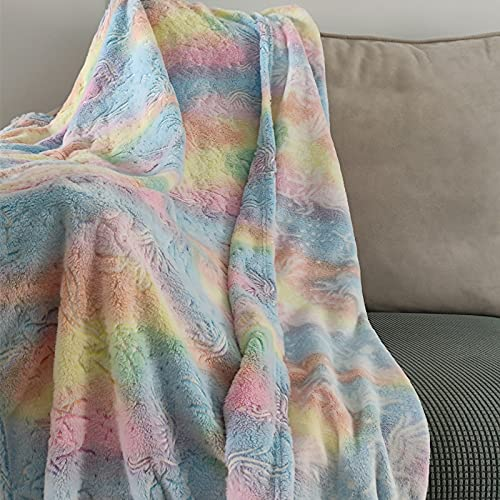 """Glow in The Dark Unicorn Blanket for Kids, Tie Dye Rainbow Bed Couch Car Nap Travel Blanket 40""""x 55"""", Soft Furry Cozy Washable All Season Decorative Blanket for Girls Toddle Kindergarten Students"""