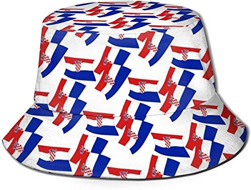 ZharkLI Bucket Hat Kroatien Flag Mode Sun Fisherman Cap Outdoor Hut UV Sonnenschutz Hut Faltbar Leicht Atmungsaktiv Reise Cap Schwarz
