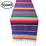10 Packs Mexican Serape Table Runner with Tassels for Mexican Home Party Decorations Christmas Outdoor Wedding Ceremony, Colorful Striped Handwoven Fringe Cotton Blanket, Purple,14x84 inches