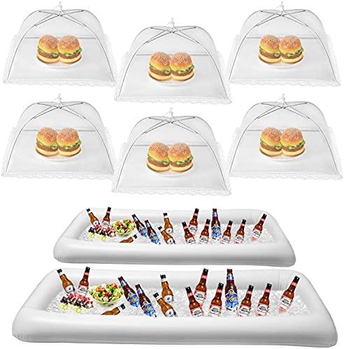 HabiLife Inflatable Serving Bar & Food Umbrella Mesh Cover Screen Tent set, For Parties Picnics Pool Use Bar Party Accessories, 2 Inflatable Bar,6 Food Cover Tent (White)