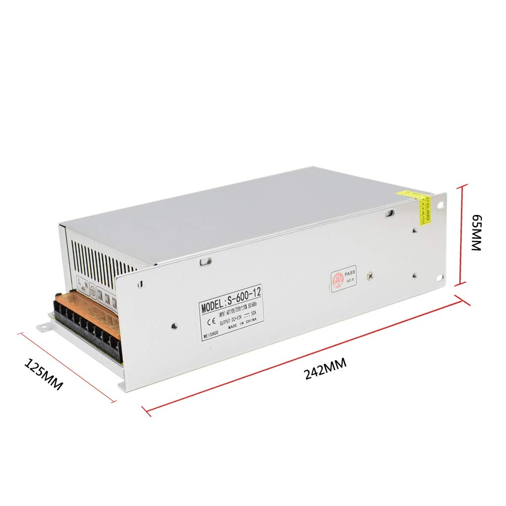 HAILI Fuente de Alimentación Conmutada DC 12V 50A 600W Transformador de Voltaje Universal Regulada AC 110V/220V para Tira de LED, Camara de Vigilancia: Amazon.es: Electrónica