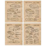 Vintage Porsche Speedsters and Rally Concept Patent Poster Prints, Set of 4 (8x10) Unframed Photos, Wall Art Decor Gifts Under 20 for Home, Office, Man Cave, Shop, College Student, Cars & Coffee Fan