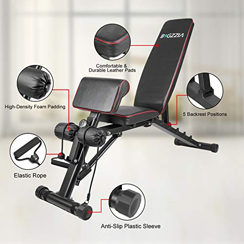 """Product Image 4: Bigzzia Weight Bench 61"""", Adjustable Strength Training Bench for Full Body Workout-Hyper Back Extension, Roman Chair, Incline Decline Bench, Dumbbells Bench with Widen Seat"""
