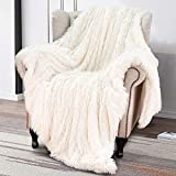Softlife Super Soft Fluffy Faux Fur Throw Blanket 50' x 60' Reversible Plush Warm Sherpa Blankets for Couch Sofa Bed Throws Home Decorative, Cream