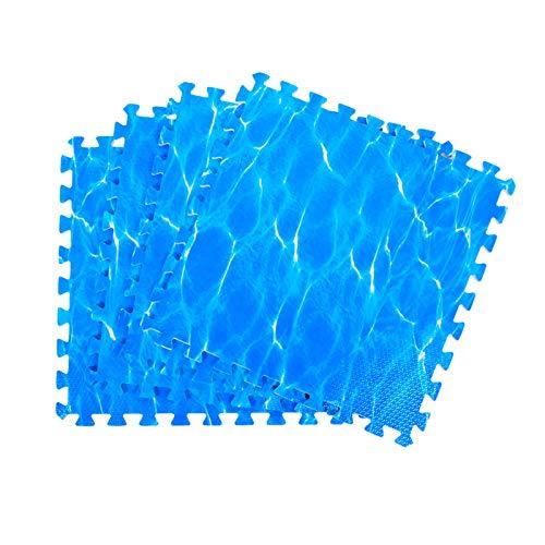 XQKXHZ Alfombra Puzzle Infantiles, Baldosas De Rompecabezas De Espuma EVA Azul con Bordes, Alfombrillas De Juego De 1,2 cm De Grosor para Gimnasios Centro Actividades Interiores Exteriores,6pcs